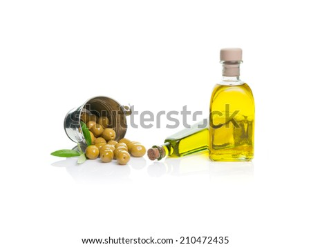 bottle of olive oil with olives isolated dump bucket on white background - stock photo