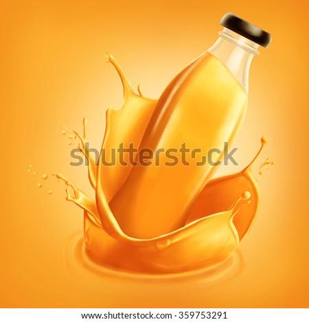 Bottle of orange juice emerging from splash - stock photo