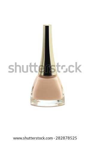 bottle of orange nail polish on a white background