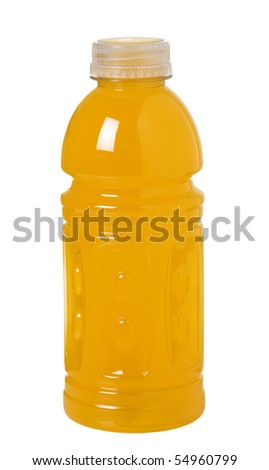 Bottle of orange sport drink with vitamins to keep you hydrated while active - stock photo