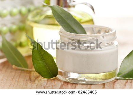 bottle of organic cream - stock photo