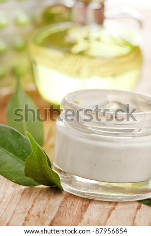 bottle of organic cream - stock photo