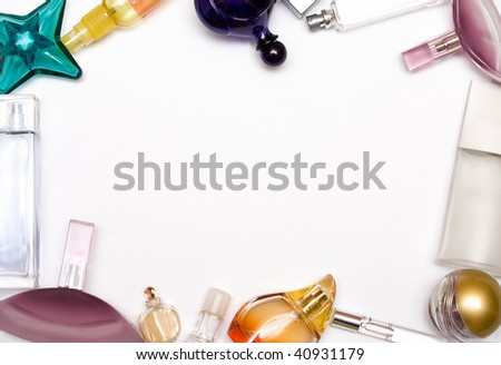 bottle of parfum frame on white background