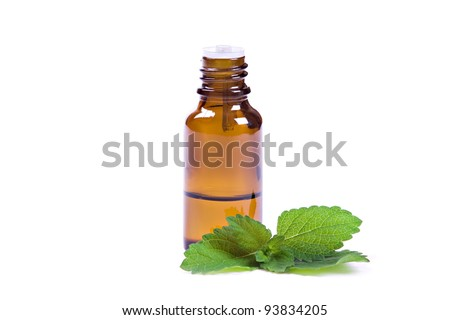 bottle of peppermint oil and fresh mint isolated on white - stock photo