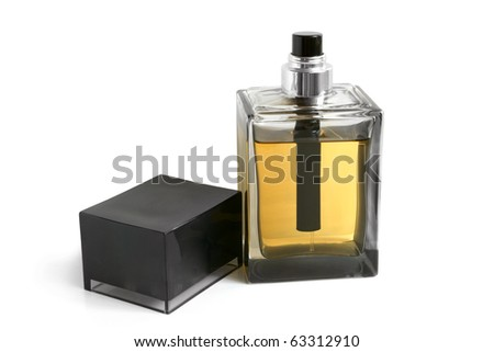 Bottle of perfume on a white background - stock photo