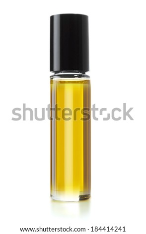 Bottle of perfume on white background, (clipping work path included). - stock photo