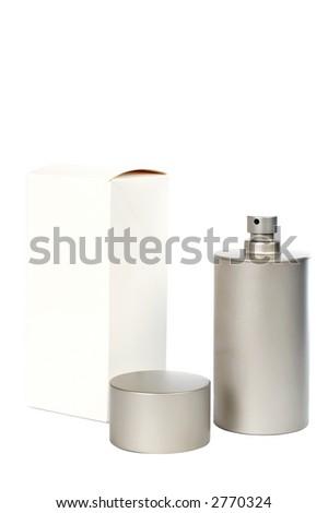 Bottle of perfume with box on white background - stock photo
