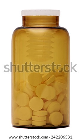 bottle of pills isolated on white background. Glass medical container of pills. - stock photo