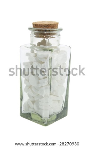 Bottle of Pills on Isolated White Background