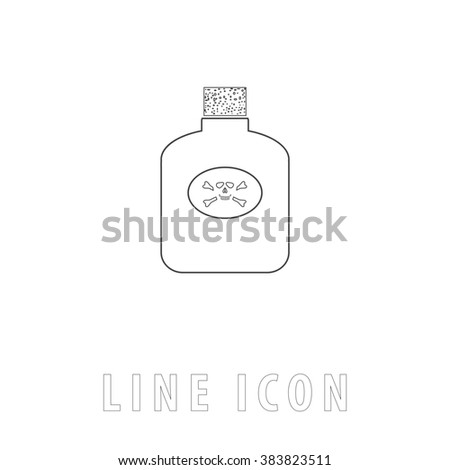 Bottle of poison. Outline simple pictogram on white. Line icon - stock photo