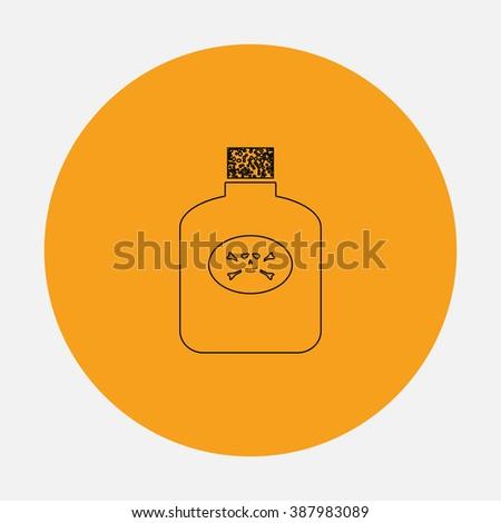 Bottle of poison. Simple flat icon on orange circle - stock photo