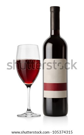 Bottle of red and wineglass - stock photo