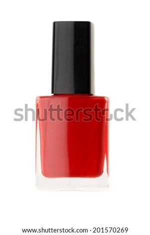Bottle of red nail polish isolated on a white background.