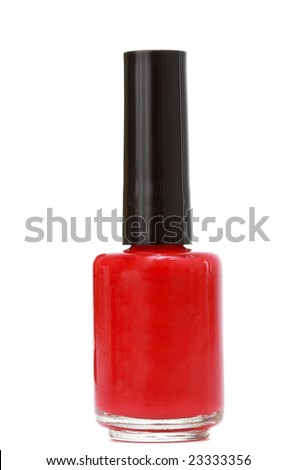 bottle of red nail polish, white background