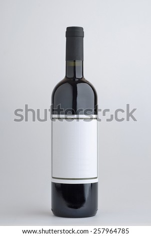bottle of red wine, - stock photo