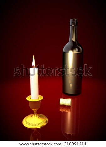 bottle of red wine and a candle on a red background