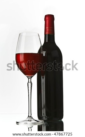 bottle of red wine and glass - stock photo