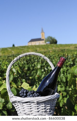 Bottle of red wine in a basket of reasons near a typical church - stock photo