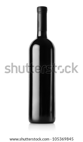 Bottle of red wine isolated on a white background. Clipping Path - stock photo