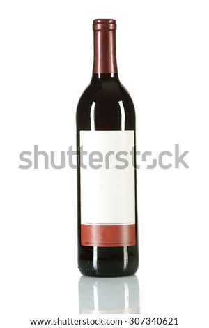Bottle of red wine isolated over white background - stock photo