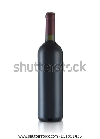 bottle of red wine on isolated reflective white background