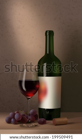 Bottle of red wine with blank label, wine glass, wine cork and grapes - stock photo