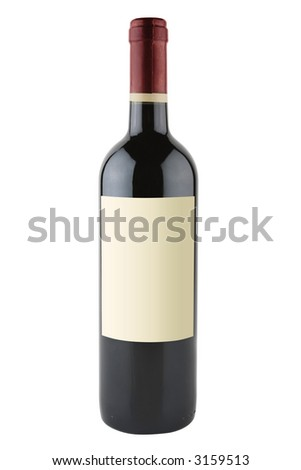 Bottle of red wine with blank labels isolated on white background with path - stock photo