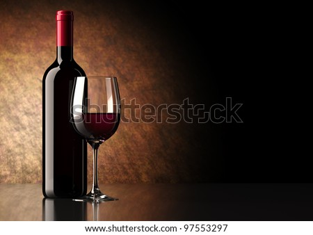 Bottle of red wine with dark glass on bottom and top reflective. - stock photo