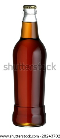 bottle of refreshing beer without label - stock photo