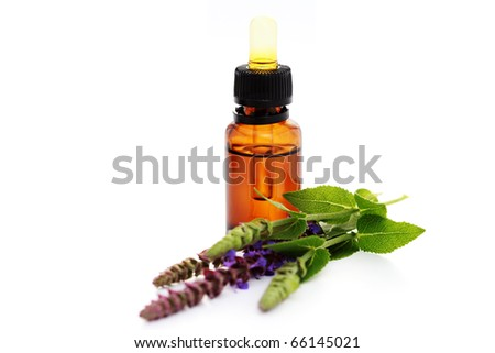 bottle of sage essential oil with fresh leaves - beauty treatment