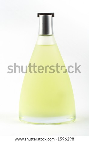 Bottle of scent on white background - stock photo