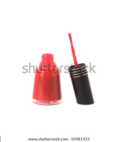 Bottle of sexy red nail polish open ,isolated - stock photo