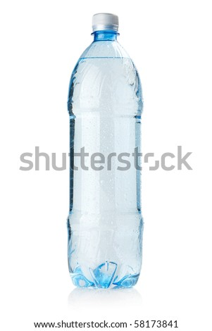 Bottle of soda water with water drops. Isolated on white background - stock photo