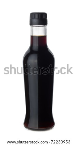 Bottle of soy sauce isolated on white - stock photo
