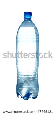 Bottle of sparkling water isolated over white