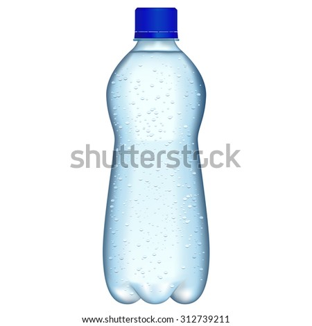 Bottle of sparkling water. Raster version isolated on white background - stock photo