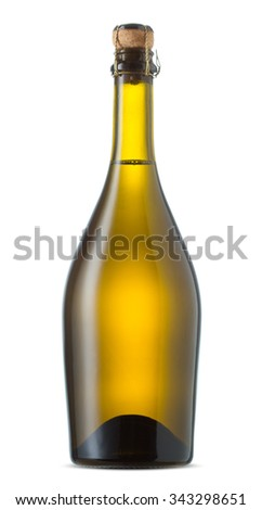 Bottle of sparkling wine isolated on a white - stock photo