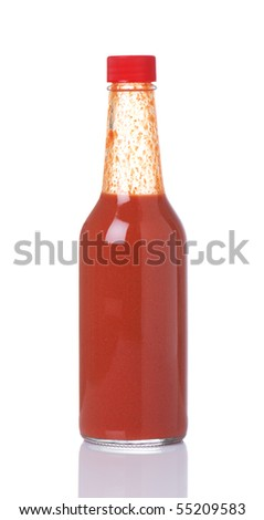 Bottle of spicy, red hot sauce - stock photo