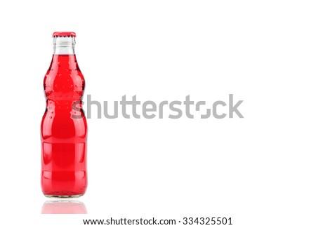 bottle of  strawberry Fanta (coca cola) glass soda isolated on a white background - stock photo
