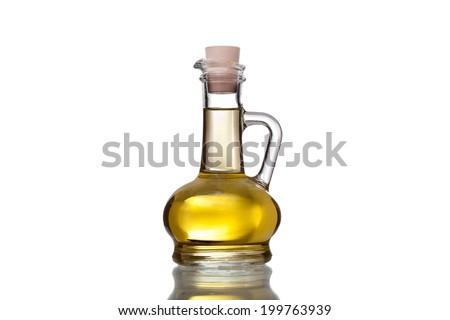 bottle of sun flower oil isolated on white background - stock photo