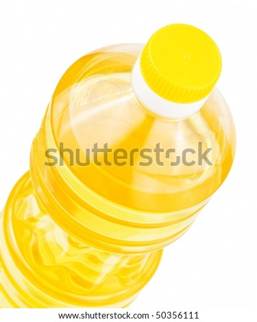 Bottle of sunflower oil isolated on a white background - stock photo