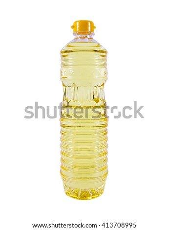 Bottle of vegetable oil for cooking isolated on white background