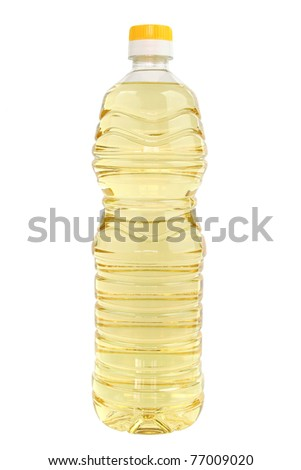 Bottle of vegetable oil for cooking isolated on white background with clipping path