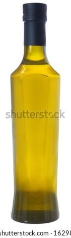 Bottle of vegetable oil on a white background. - stock photo