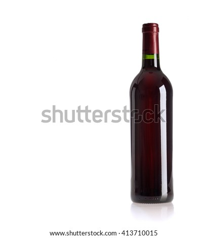 bottle of vine on  white background - stock photo