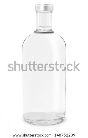 Bottle of vodka isolated  - stock photo