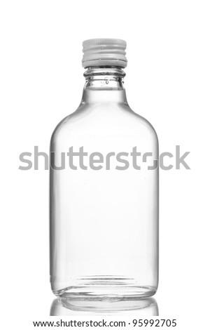 Bottle of vodka isolated on white - stock photo