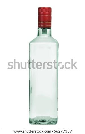 Bottle of vodka isolated on white background - stock photo
