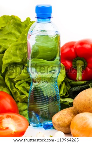 bottle of water and fresh fruits and vegetables isolated on white background - stock photo