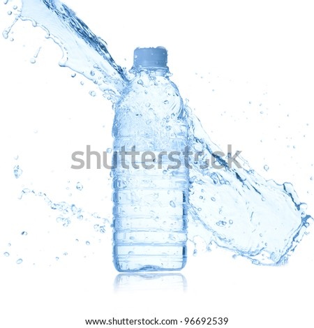 bottle of water and water splash isolated on white